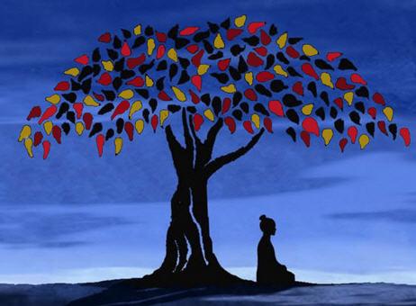 méditant sous arbre